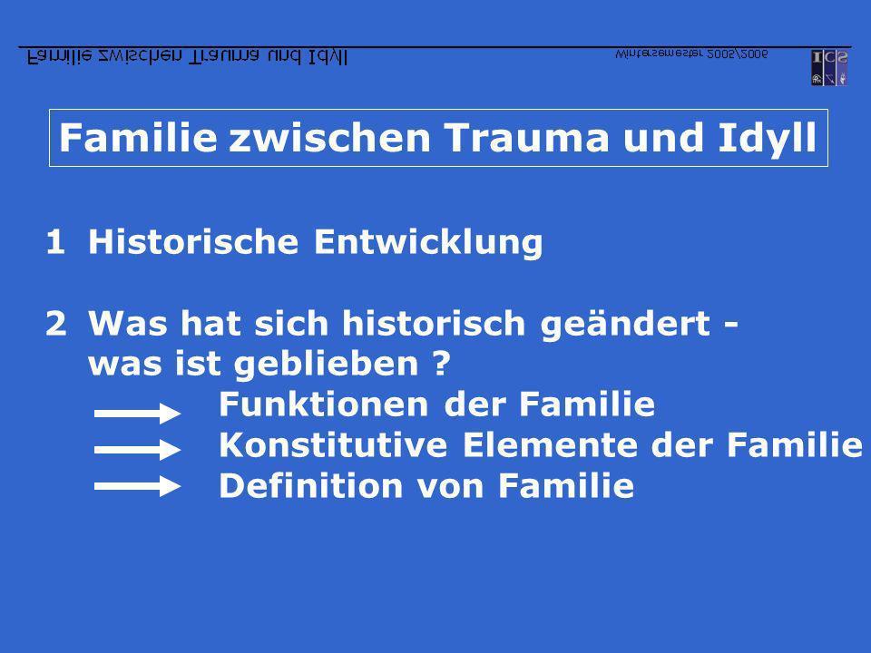 Familie zwischen Trauma und Idyll 1Historische Entwicklung 2Was hat sich historisch geändert - was ist geblieben ? Funktionen der Familie Konstitutive