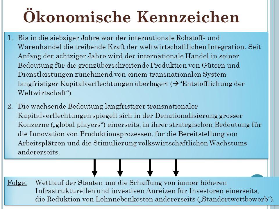 Ökonomische Kennzeichen 13 1.Bis in die siebziger Jahre war der internationale Rohstoff- und Warenhandel die treibende Kraft der weltwirtschaftlichen