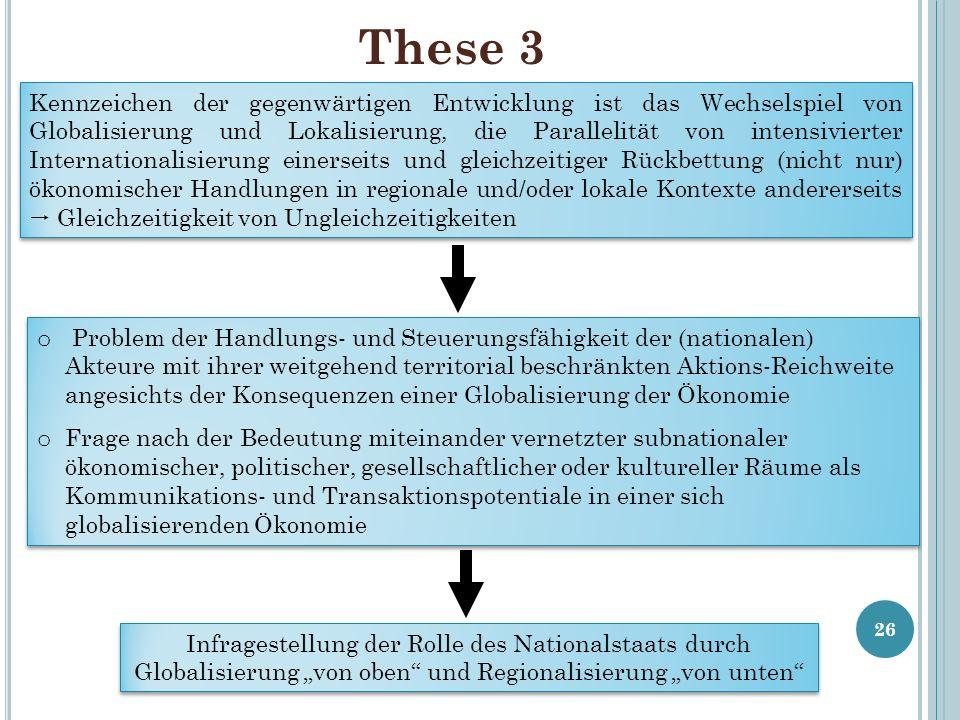 These 3 26 Kennzeichen der gegenwärtigen Entwicklung ist das Wechselspiel von Globalisierung und Lokalisierung, die Parallelität von intensivierter In