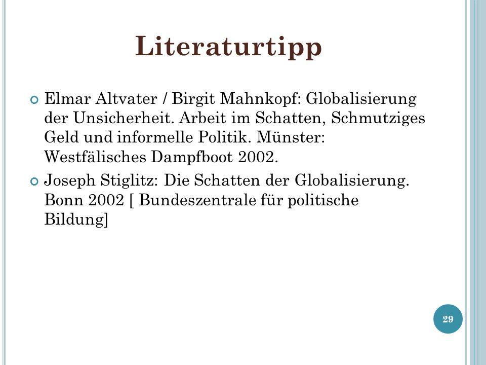 Literaturtipp Elmar Altvater / Birgit Mahnkopf: Globalisierung der Unsicherheit. Arbeit im Schatten, Schmutziges Geld und informelle Politik. Münster: