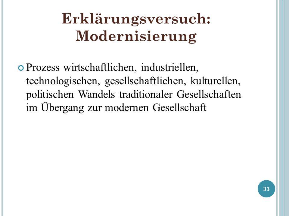 Erklärungsversuch: Modernisierung Prozess wirtschaftlichen, industriellen, technologischen, gesellschaftlichen, kulturellen, politischen Wandels tradi