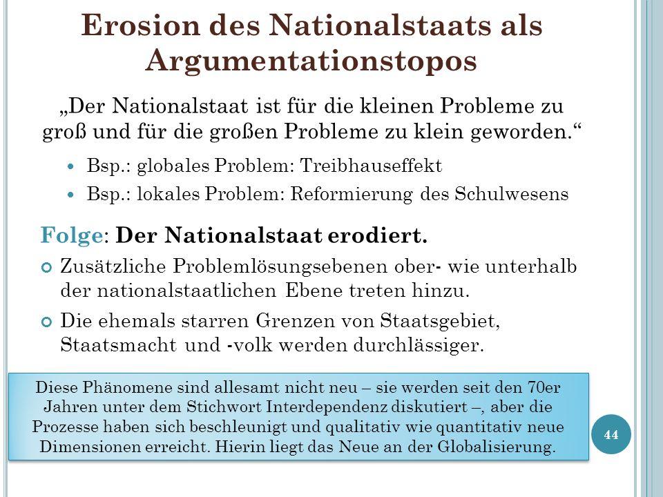 Erosion des Nationalstaats als Argumentationstopos Der Nationalstaat ist für die kleinen Probleme zu groß und für die großen Probleme zu klein geworde