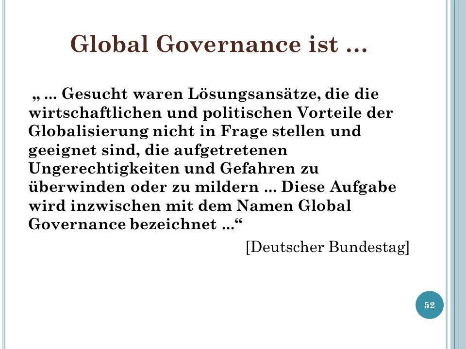 Global Governance ist …... Gesucht waren Lösungsansätze, die die wirtschaftlichen und politischen Vorteile der Globalisierung nicht in Frage stellen u