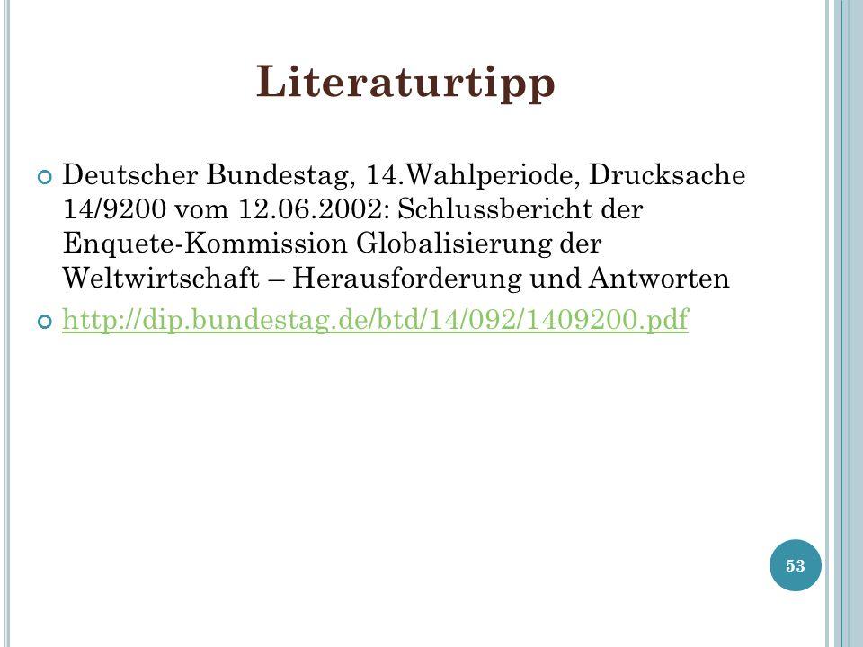 Literaturtipp Deutscher Bundestag, 14.Wahlperiode, Drucksache 14/9200 vom 12.06.2002: Schlussbericht der Enquete-Kommission Globalisierung der Weltwir