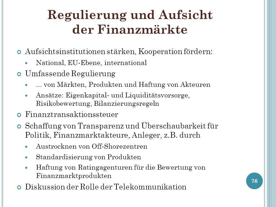Regulierung und Aufsicht der Finanzmärkte Aufsichtsinstitutionen stärken, Kooperation fördern: National, EU-Ebene, international Umfassende Regulierun