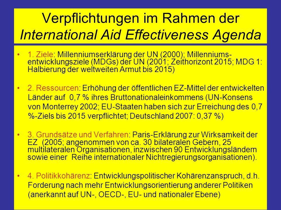Verpflichtungen im Rahmen der International Aid Effectiveness Agenda 1. Ziele: Millenniumserklärung der UN (2000); Millenniums- entwicklungsziele (MDG
