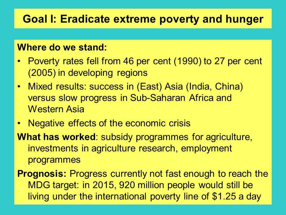 Goal I: Eradicate extreme poverty and hunger Where do we stand: Poverty rates fell from 46 per cent (1990) to 27 per cent (2005) in developing regions