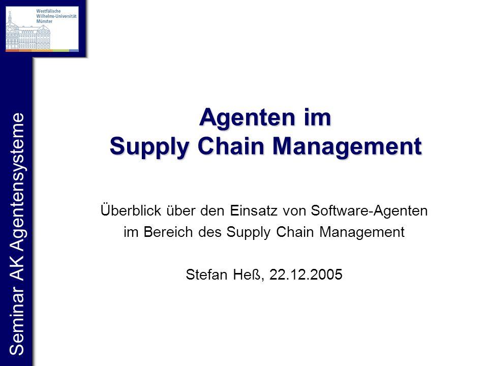 Seminar AK Agentensysteme Agenten im Supply Chain Management Überblick über den Einsatz von Software-Agenten im Bereich des Supply Chain Management Stefan Heß, 22.12.2005