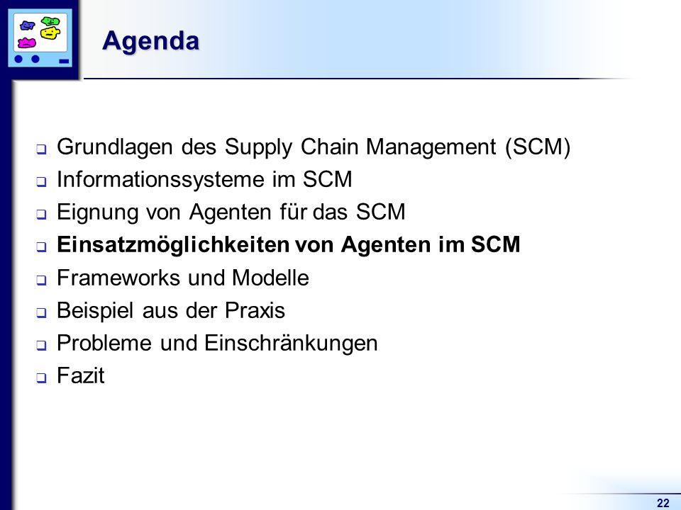 22Agenda Grundlagen des Supply Chain Management (SCM) Informationssysteme im SCM Eignung von Agenten für das SCM Einsatzmöglichkeiten von Agenten im SCM Frameworks und Modelle Beispiel aus der Praxis Probleme und Einschränkungen Fazit