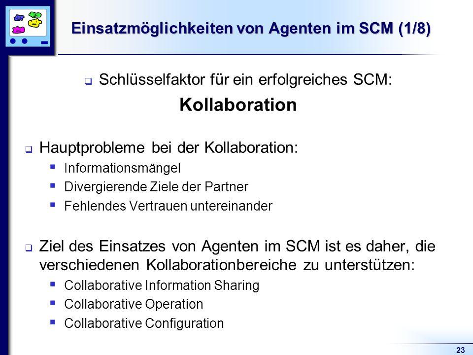 23 Einsatzmöglichkeiten von Agenten im SCM (1/8) Schlüsselfaktor für ein erfolgreiches SCM: Kollaboration Hauptprobleme bei der Kollaboration: Informationsmängel Divergierende Ziele der Partner Fehlendes Vertrauen untereinander Ziel des Einsatzes von Agenten im SCM ist es daher, die verschiedenen Kollaborationbereiche zu unterstützen: Collaborative Information Sharing Collaborative Operation Collaborative Configuration