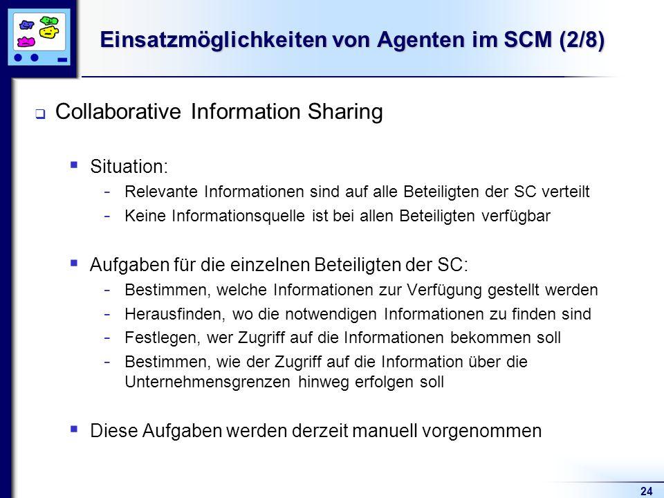 24 Einsatzmöglichkeiten von Agenten im SCM (2/8) Collaborative Information Sharing Situation: - Relevante Informationen sind auf alle Beteiligten der