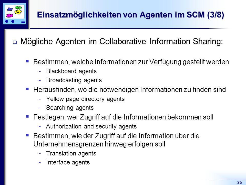 25 Einsatzmöglichkeiten von Agenten im SCM (3/8) Mögliche Agenten im Collaborative Information Sharing: Bestimmen, welche Informationen zur Verfügung