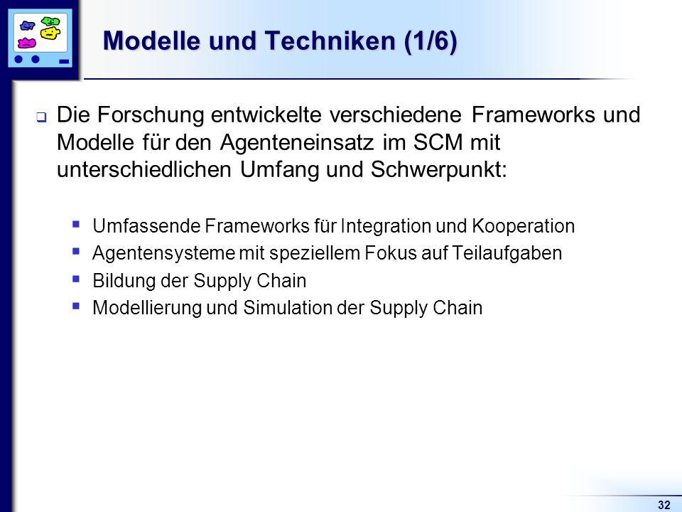 32 Modelle und Techniken (1/6) Die Forschung entwickelte verschiedene Frameworks und Modelle für den Agenteneinsatz im SCM mit unterschiedlichen Umfang und Schwerpunkt: Umfassende Frameworks für Integration und Kooperation Agentensysteme mit speziellem Fokus auf Teilaufgaben Bildung der Supply Chain Modellierung und Simulation der Supply Chain