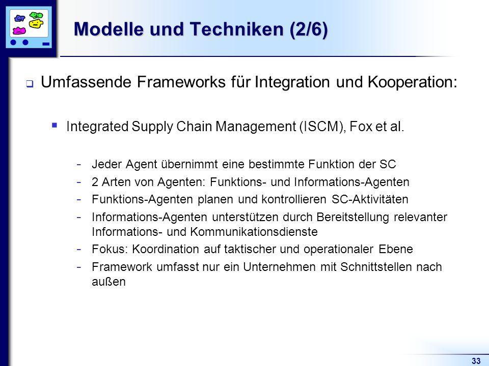 33 Modelle und Techniken (2/6) Umfassende Frameworks für Integration und Kooperation: Integrated Supply Chain Management (ISCM), Fox et al.