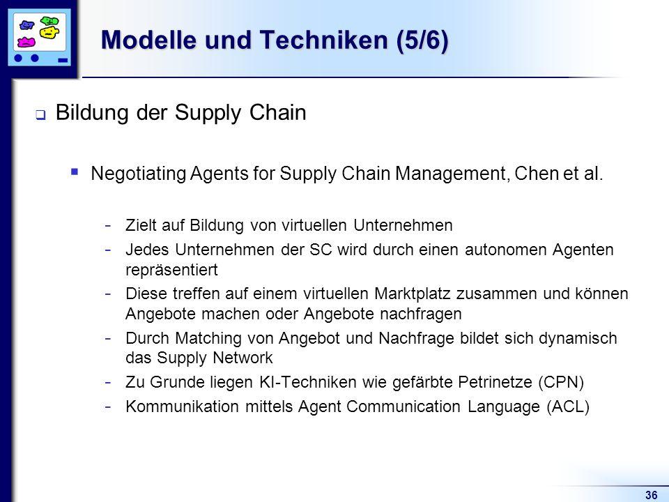 36 Modelle und Techniken (5/6) Bildung der Supply Chain Negotiating Agents for Supply Chain Management, Chen et al. - Zielt auf Bildung von virtuellen