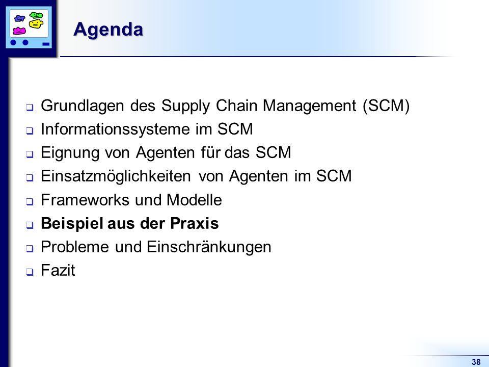 38Agenda Grundlagen des Supply Chain Management (SCM) Informationssysteme im SCM Eignung von Agenten für das SCM Einsatzmöglichkeiten von Agenten im SCM Frameworks und Modelle Beispiel aus der Praxis Probleme und Einschränkungen Fazit