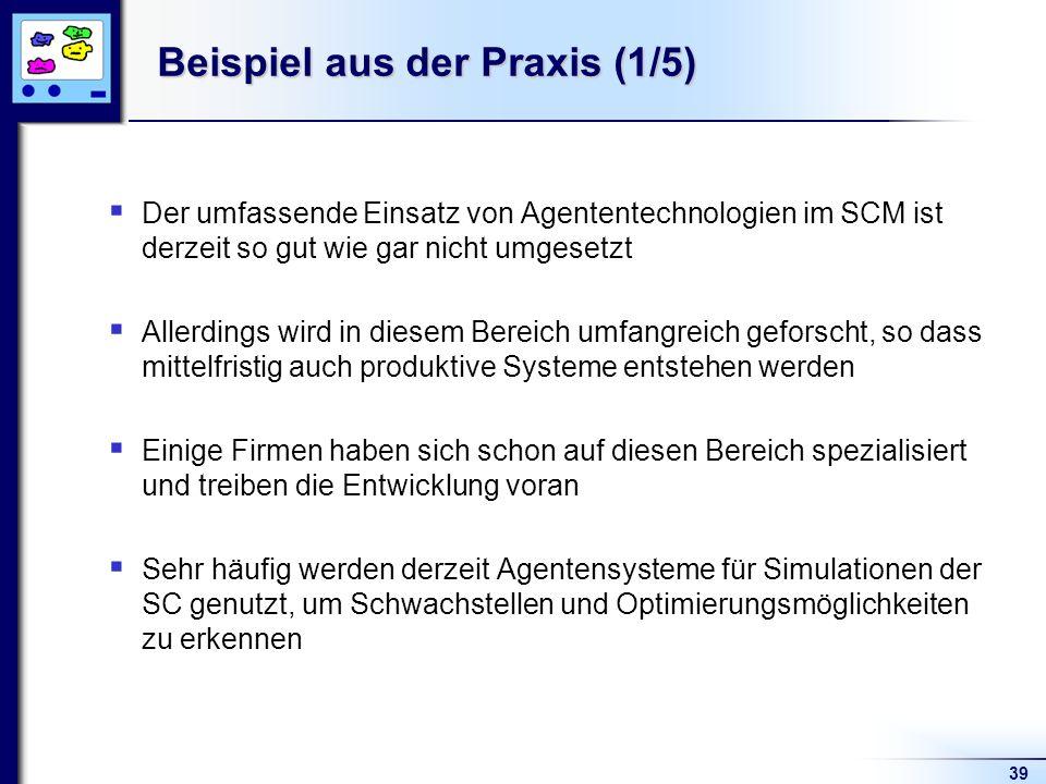 39 Beispiel aus der Praxis (1/5) Der umfassende Einsatz von Agententechnologien im SCM ist derzeit so gut wie gar nicht umgesetzt Allerdings wird in d