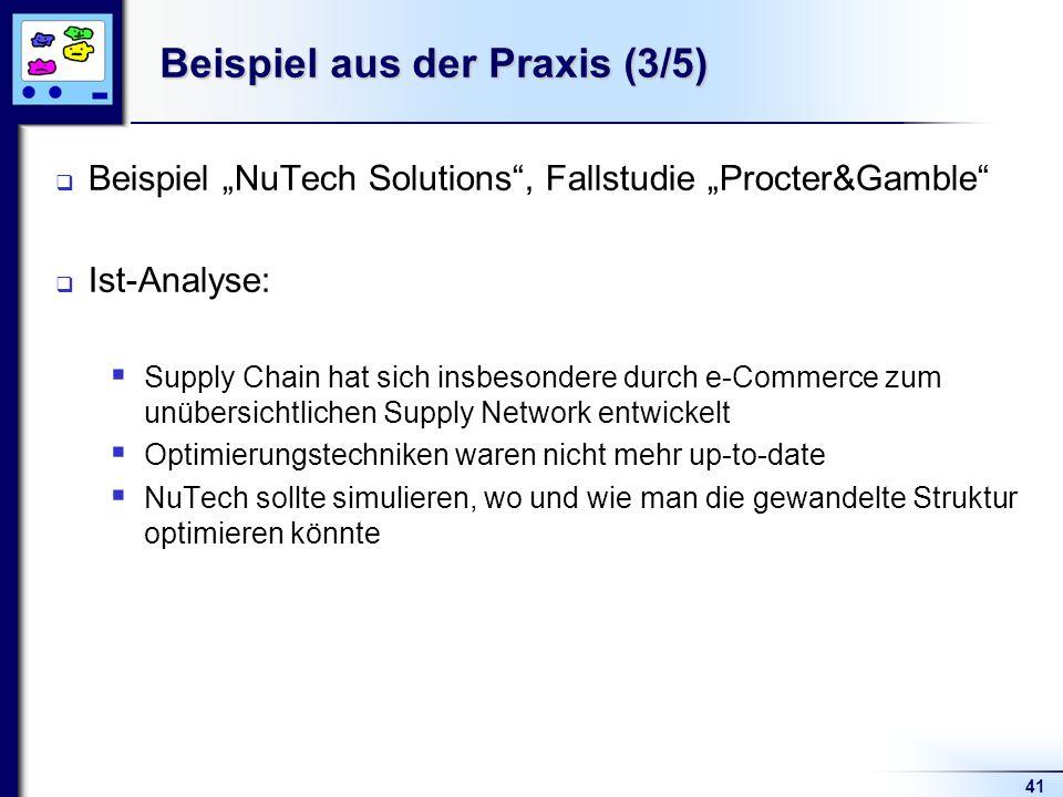 41 Beispiel aus der Praxis (3/5) Beispiel NuTech Solutions, Fallstudie Procter&Gamble Ist-Analyse: Supply Chain hat sich insbesondere durch e-Commerce