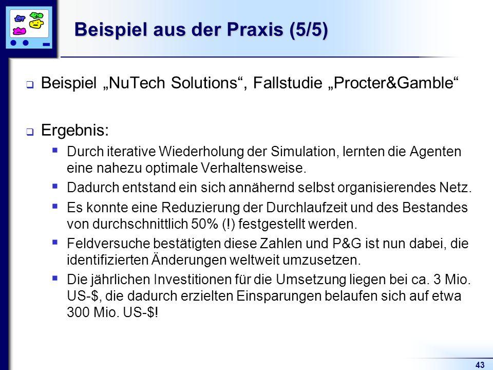 43 Beispiel aus der Praxis (5/5) Beispiel NuTech Solutions, Fallstudie Procter&Gamble Ergebnis: Durch iterative Wiederholung der Simulation, lernten d