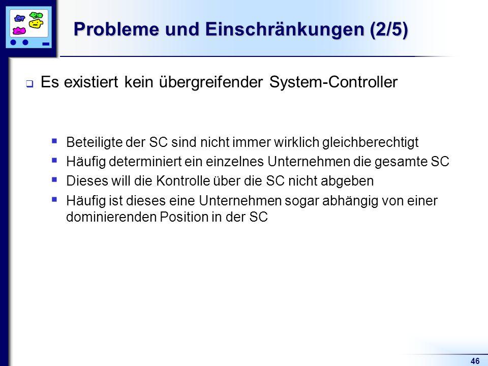 46 Probleme und Einschränkungen (2/5) Es existiert kein übergreifender System-Controller Beteiligte der SC sind nicht immer wirklich gleichberechtigt Häufig determiniert ein einzelnes Unternehmen die gesamte SC Dieses will die Kontrolle über die SC nicht abgeben Häufig ist dieses eine Unternehmen sogar abhängig von einer dominierenden Position in der SC
