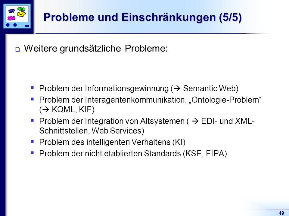 49 Probleme und Einschränkungen (5/5) Weitere grundsätzliche Probleme: Problem der Informationsgewinnung ( Semantic Web) Problem der Interagentenkommunikation, Ontologie-Problem ( KQML, KIF) Problem der Integration von Altsystemen ( EDI- und XML- Schnittstellen, Web Services) Problem des intelligenten Verhaltens (KI) Problem der nicht etablierten Standards (KSE, FIPA)