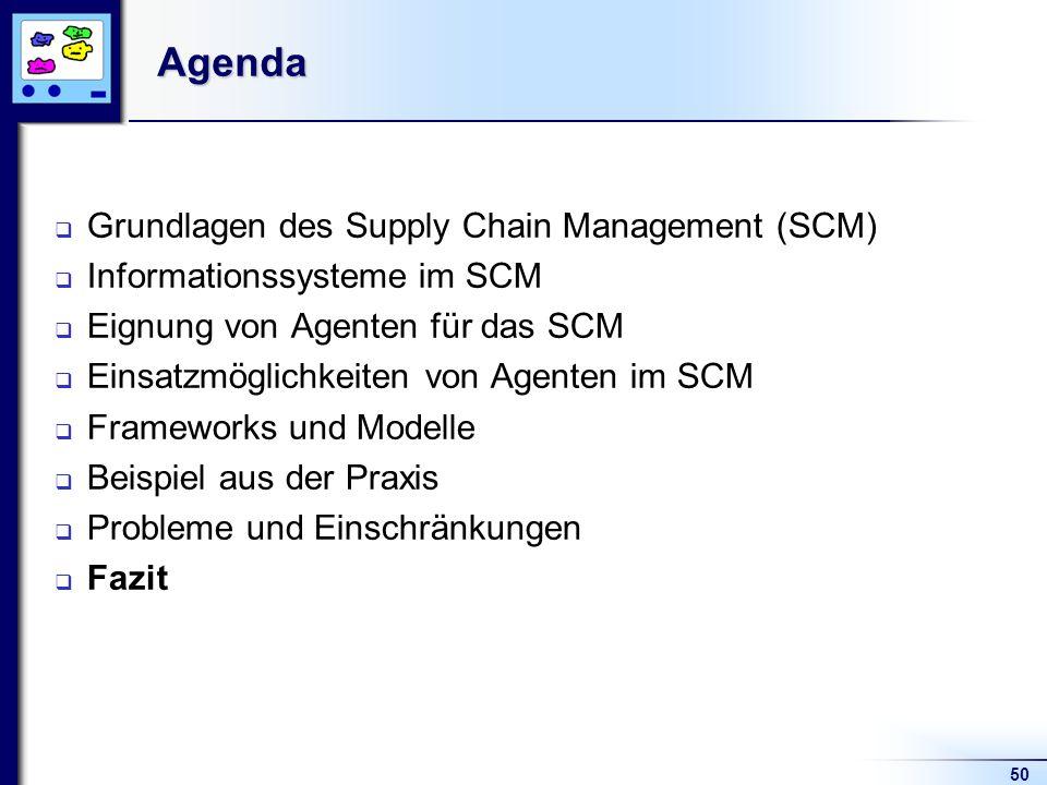 50Agenda Grundlagen des Supply Chain Management (SCM) Informationssysteme im SCM Eignung von Agenten für das SCM Einsatzmöglichkeiten von Agenten im SCM Frameworks und Modelle Beispiel aus der Praxis Probleme und Einschränkungen Fazit
