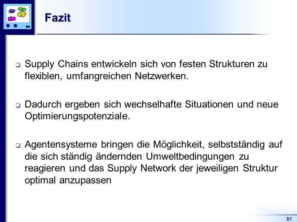 51Fazit Supply Chains entwickeln sich von festen Strukturen zu flexiblen, umfangreichen Netzwerken. Dadurch ergeben sich wechselhafte Situationen und