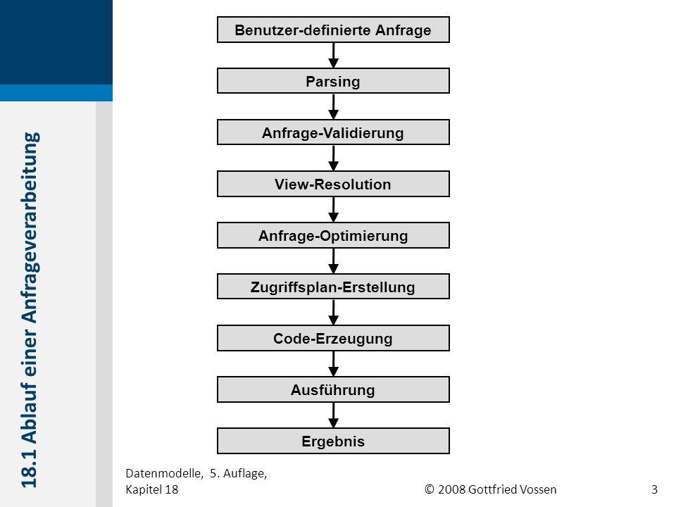 © 2008 Gottfried Vossen Benutzer-definierte Anfrage Parsing Anfrage-Validierung View-Resolution Anfrage-Optimierung Zugriffsplan-Erstellung Code-Erzeugung Ausführung Ergebnis 18.1 Ablauf einer Anfrageverarbeitung Datenmodelle, 5.