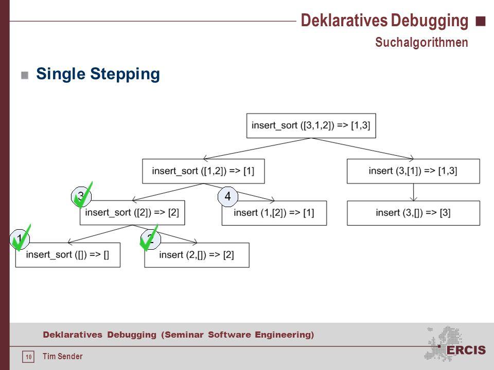 9 Deklaratives Debugging (Seminar Software Engineering) Tim Sender Ablauf des deklarativen Debugging Ausführungsbaum