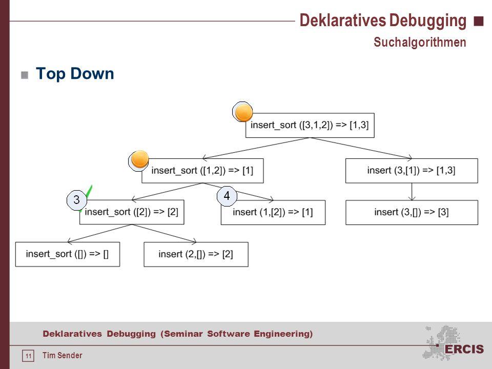 10 Deklaratives Debugging (Seminar Software Engineering) Tim Sender Deklaratives Debugging Suchalgorithmen Single Stepping