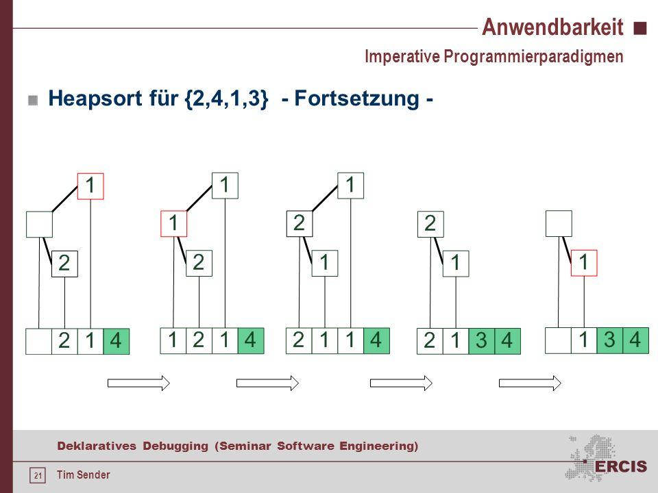 20 Deklaratives Debugging (Seminar Software Engineering) Tim Sender Anwendbarkeit Heapsort für {2,4,1,3} Imperative Programmierparadigmen Heap