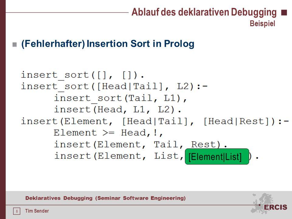 7 Deklaratives Debugging (Seminar Software Engineering) Tim Sender Ablauf des deklarativen Debugging Ursprung 1982 von Shapiro als algorithmisches Debugging für logische Programmierparadigmen entwickelt Verfahren insb.