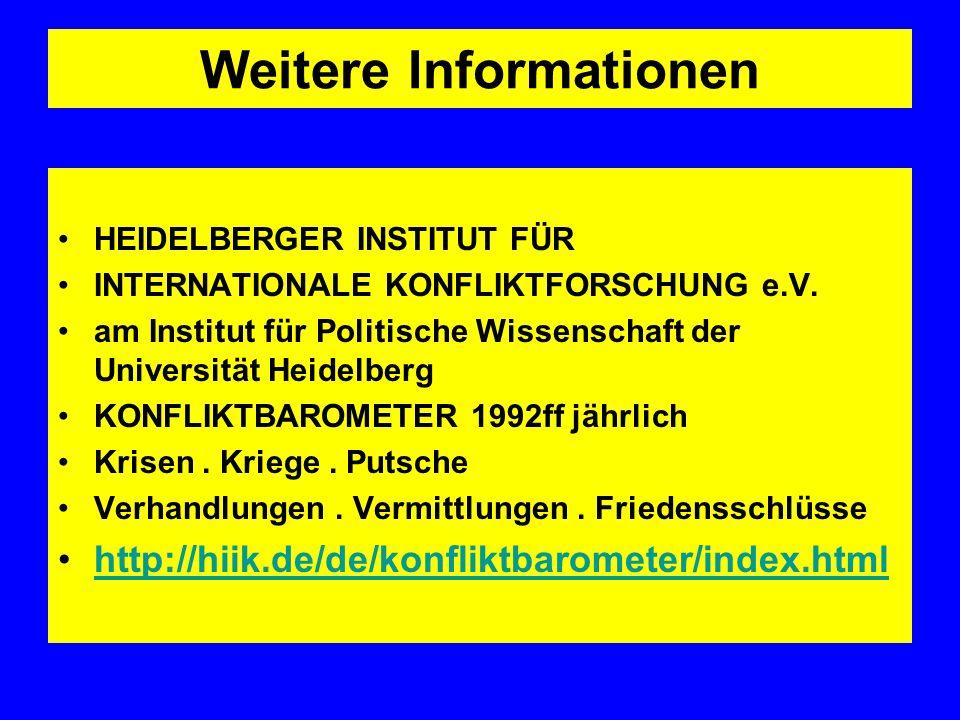 Weitere Informationen HEIDELBERGER INSTITUT FÜR INTERNATIONALE KONFLIKTFORSCHUNG e.V. am Institut für Politische Wissenschaft der Universität Heidelbe