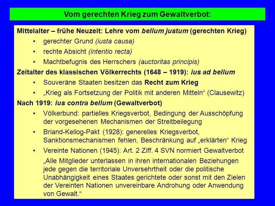 Vom gerechten Krieg zum Gewaltverbot: Mittelalter – frühe Neuzeit: Lehre vom bellum justum (gerechten Krieg) gerechter Grund (iusta causa) rechte Absi