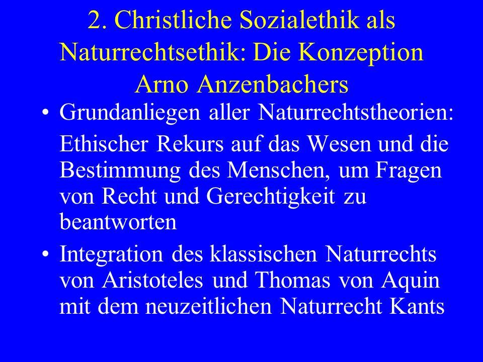 2. Christliche Sozialethik als Naturrechtsethik: Die Konzeption Arno Anzenbachers Grundanliegen aller Naturrechtstheorien: Ethischer Rekurs auf das We