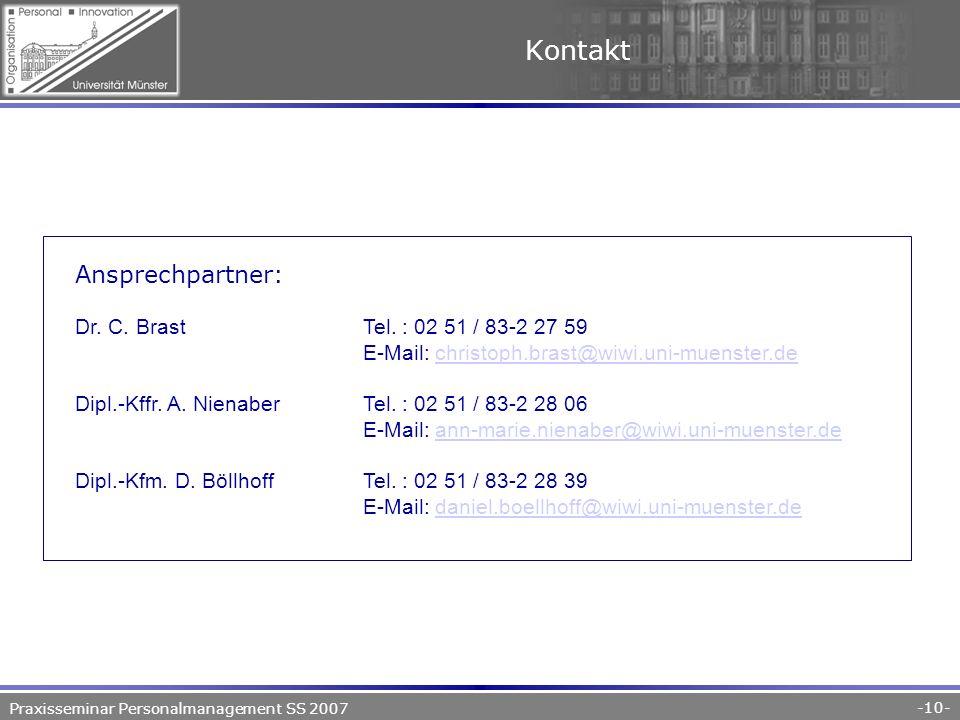 Praxisseminar Personalmanagement SS 2007 -10- Kontakt Ansprechpartner: Dr.