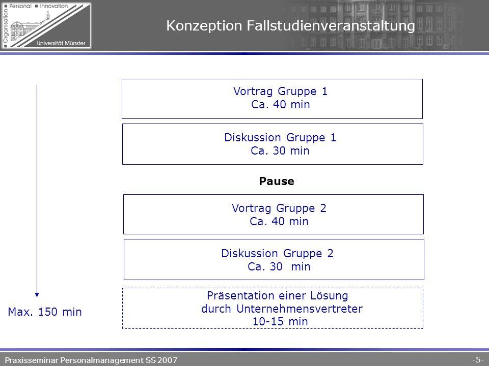 Praxisseminar Personalmanagement SS 2007 -5- Konzeption Fallstudienveranstaltung Vortrag Gruppe 1 Ca.