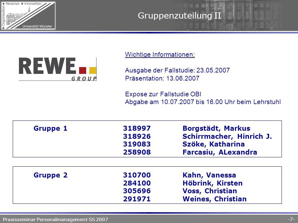 Praxisseminar Personalmanagement SS 2007 -7- Gruppenzuteilung II Gruppe 1318997Borgstädt, Markus 318926Schirrmacher, Hinrich J.