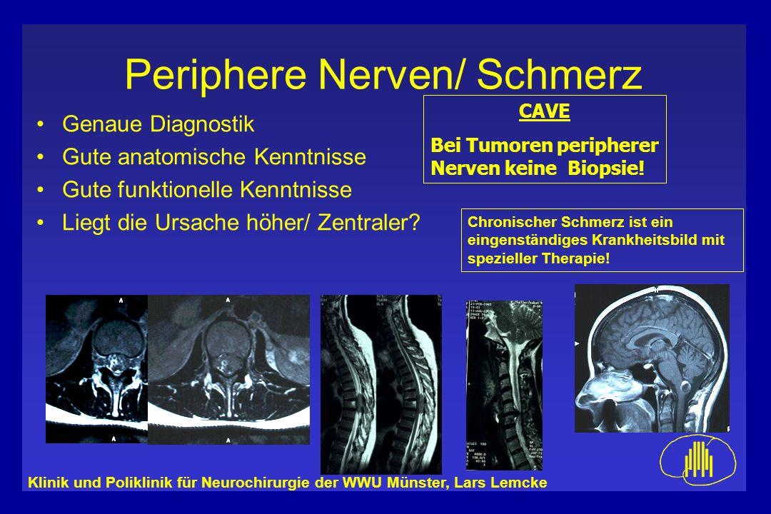 Klinik und Poliklinik für Neurochirurgie der WWU Münster, Lars Lemcke Periphere Nerven/ Schmerz Genaue Diagnostik Gute anatomische Kenntnisse Gute fun