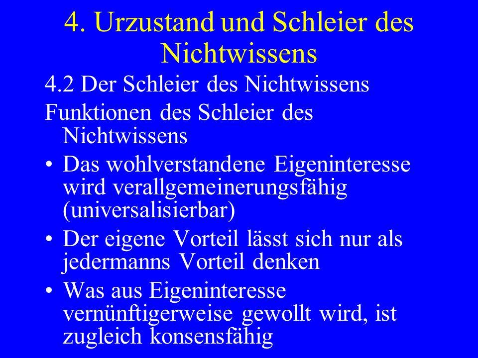 4. Urzustand und Schleier des Nichtwissens 4.2 Der Schleier des Nichtwissens Funktionen des Schleier des Nichtwissens Das wohlverstandene Eigeninteres
