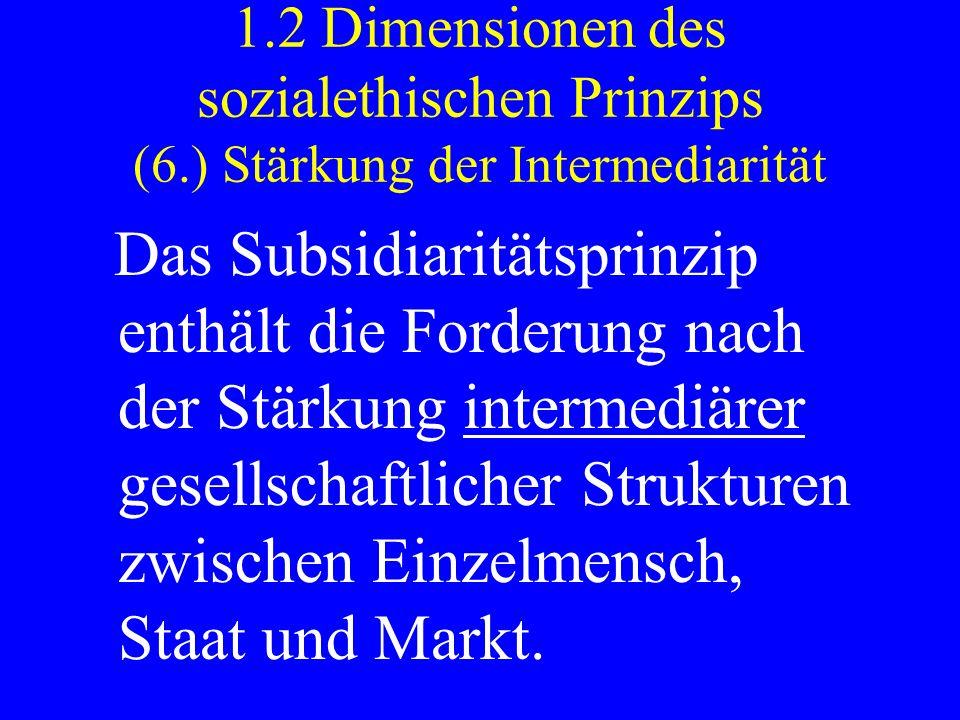 1.2 Dimensionen des sozialethischen Prinzips (6.) Stärkung der Intermediarität Das Subsidiaritätsprinzip enthält die Forderung nach der Stärkung inter