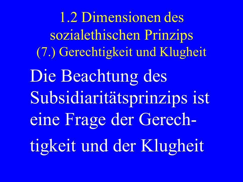 1.2 Dimensionen des sozialethischen Prinzips (7.) Gerechtigkeit und Klugheit Die Beachtung des Subsidiaritätsprinzips ist eine Frage der Gerech- tigke