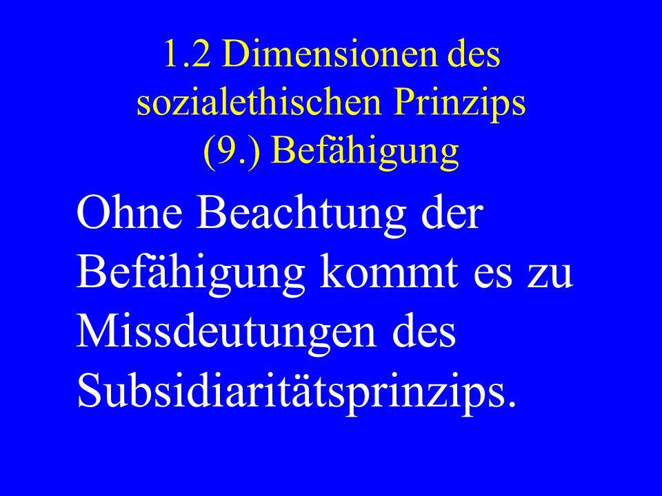 1.2 Dimensionen des sozialethischen Prinzips (9.) Befähigung Ohne Beachtung der Befähigung kommt es zu Missdeutungen des Subsidiaritätsprinzips.