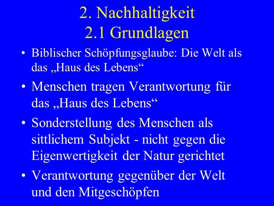 2. Nachhaltigkeit 2.1 Grundlagen Biblischer Schöpfungsglaube: Die Welt als das Haus des Lebens Menschen tragen Verantwortung für das Haus des Lebens S