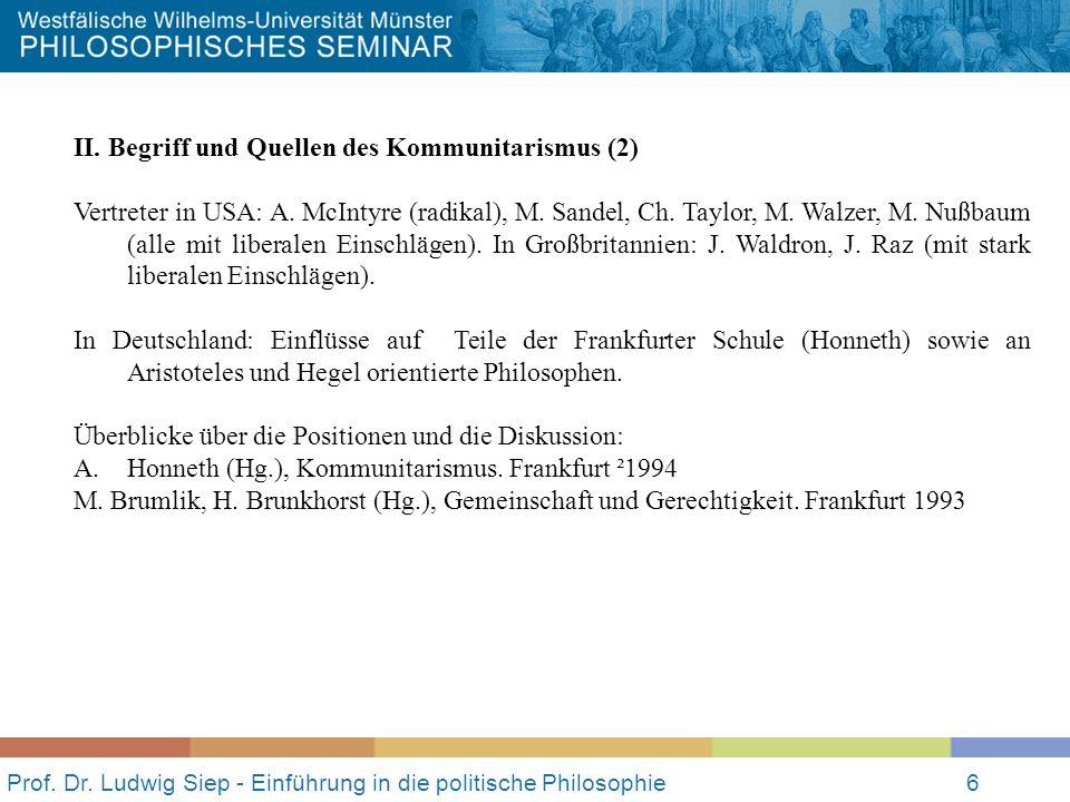 Prof.Dr. Ludwig Siep - Einführung in die politische Philosophie6 II.