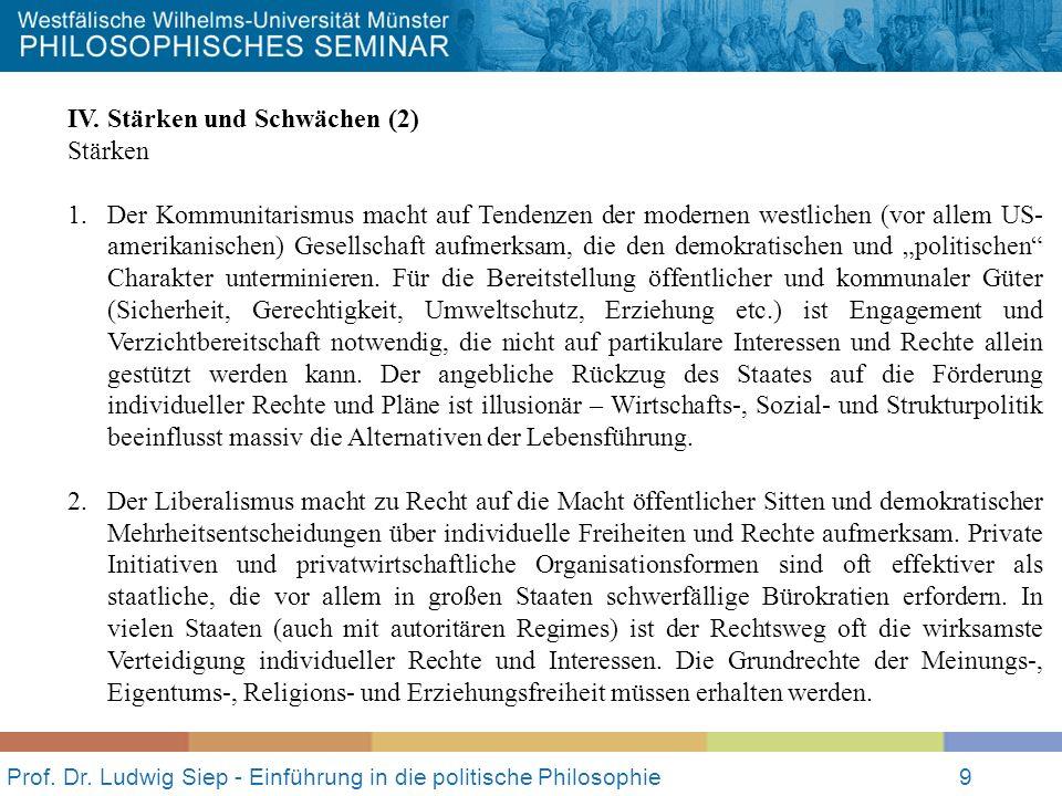 Prof.Dr. Ludwig Siep - Einführung in die politische Philosophie10 IV.