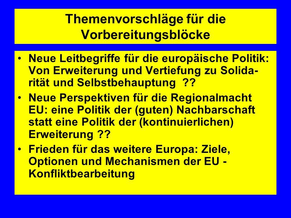 Themenvorschläge für die Vorbereitungsblöcke Neue Leitbegriffe für die europäische Politik: Von Erweiterung und Vertiefung zu Solida- rität und Selbst