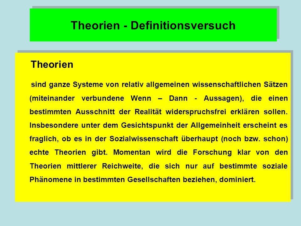 Theorien - Definitionsversuch Theorien sind ganze Systeme von relativ allgemeinen wissenschaftlichen Sätzen (miteinander verbundene Wenn – Dann - Aussagen), die einen bestimmten Ausschnitt der Realität widerspruchsfrei erklären sollen.
