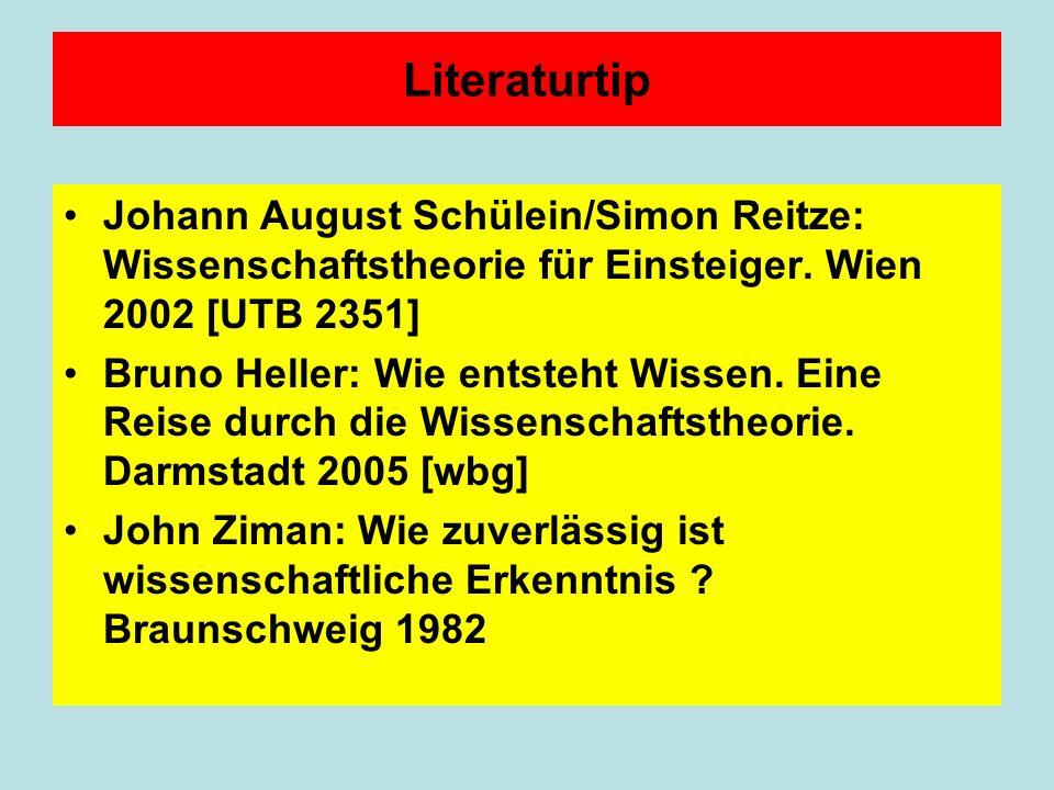 Literaturtip Johann August Schülein/Simon Reitze: Wissenschaftstheorie für Einsteiger.