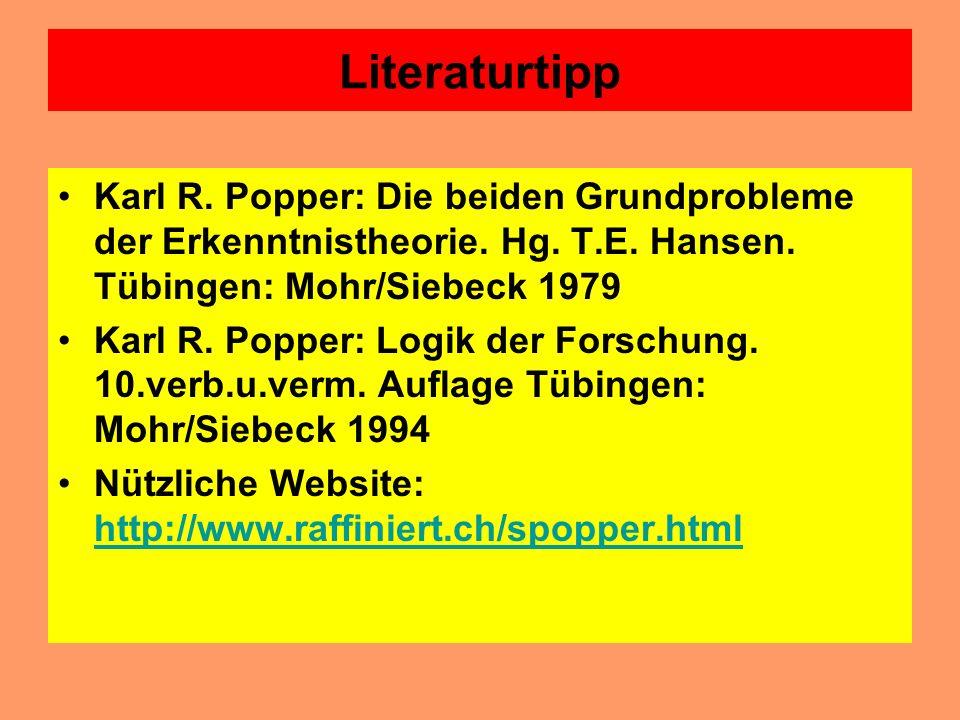 Sir Karl Popper (1902-1994) und die Logik der Forschung Karl Popper hat in seiner Logik der Forschung (1935) ein Modell der Wissenschaftsentwicklung e